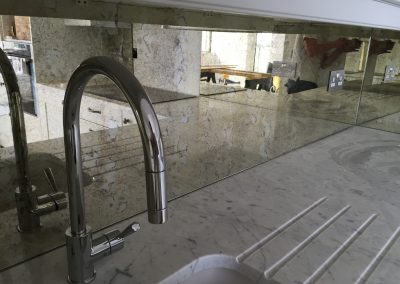 bespoke antique mirror kitchen splashback