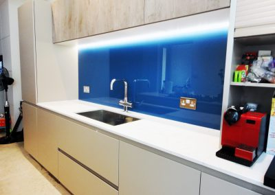 bright blue splashback