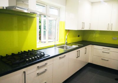 bright yellow splashback toughened glass