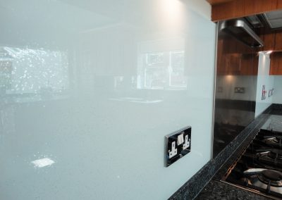 glitter in glass splashback