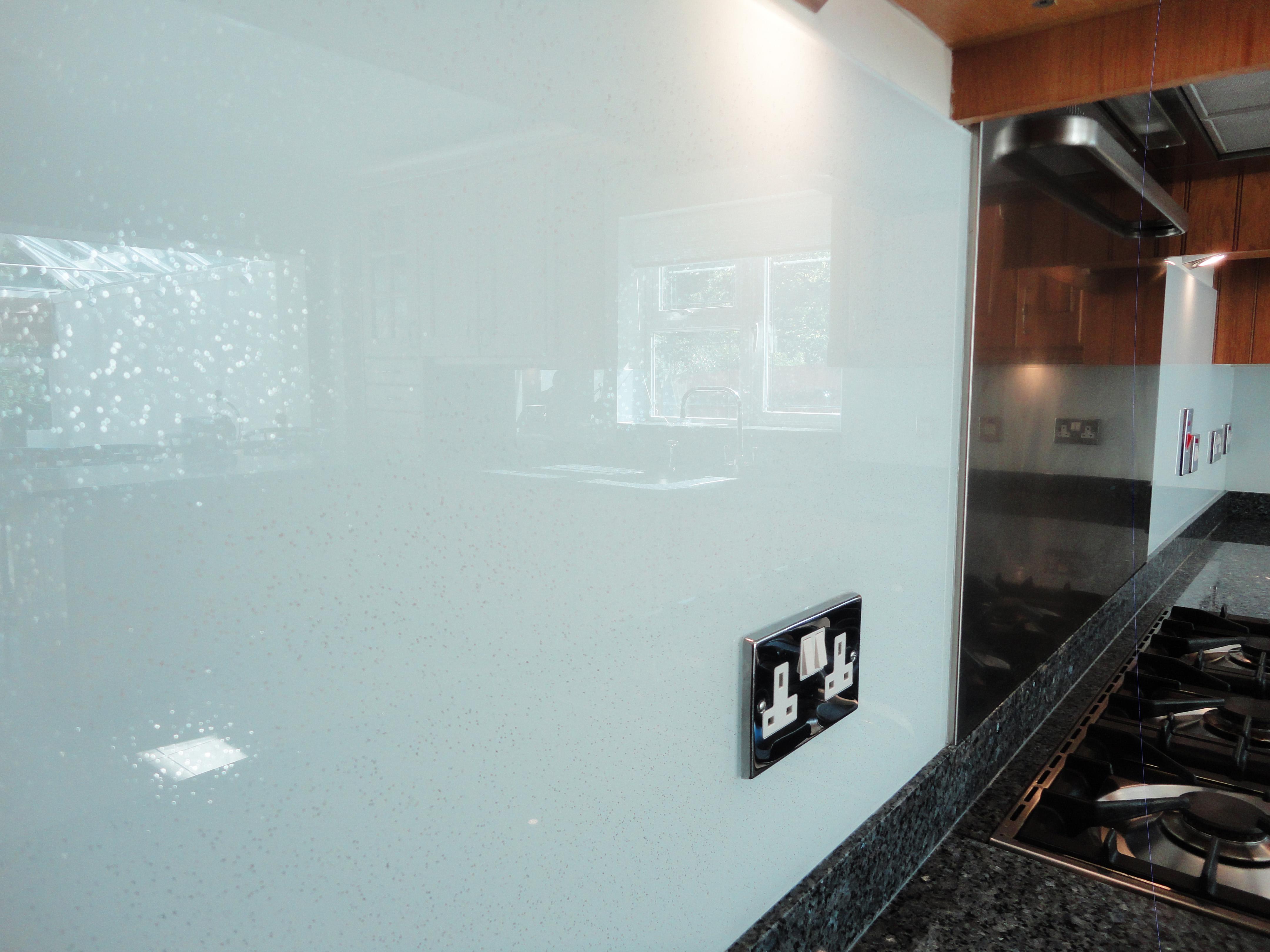 Black Sparkle Glass Splashback
