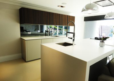 grey mirror kitchen splashback