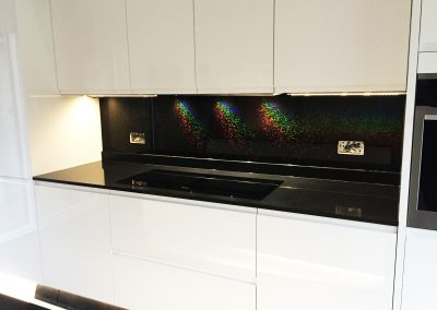rainbow sparkle black splashbacks