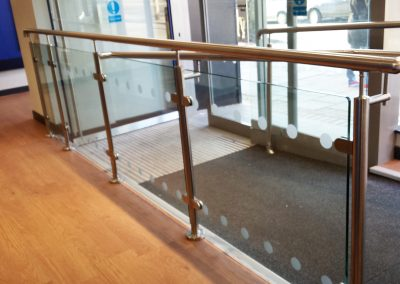sandblast design on balustrade