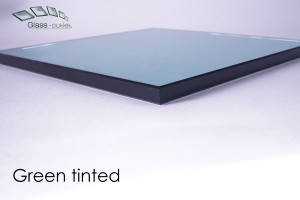 green tinted toughened glass edge