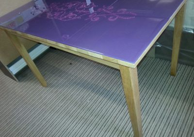 bespoke pattern on glass table top