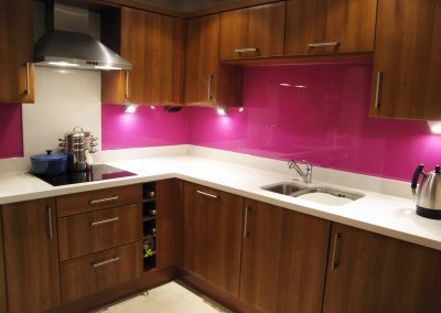 dark pink kitchen splashback bespoke