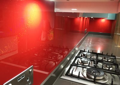 red splashback with glitter sparkle
