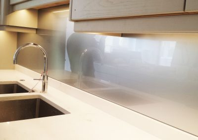 striking metallic splashback