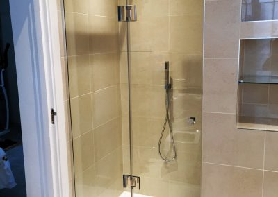 toughened glass shower door and side panel