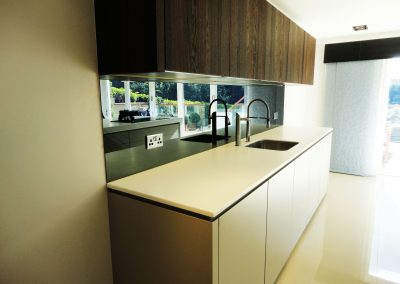 toughened mirror grey splashback