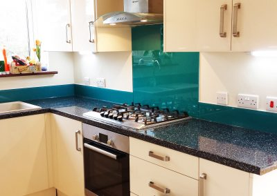 turquoise splashback in kitchen
