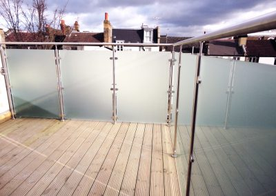 Acid etched opaque balcony glass