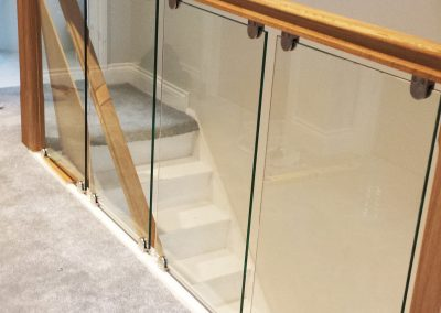 Balustrades with wooden outer clear toughened glass
