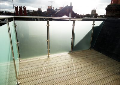 Satin acid eched balcony glass