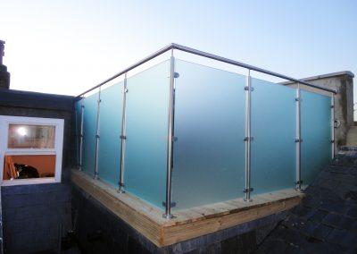 Satin acid etched glass