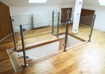 balustrades in loft clear toughened glass